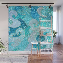 Mermaid Waves And Sea Faux Glitter - Sun Light Over The Ocean Wall Mural