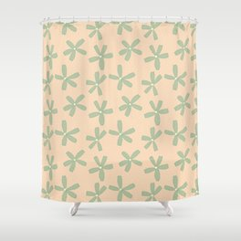 Green & Pink Floral Shower Curtain