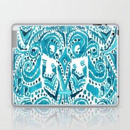 #MERMLIFE Blue Ikat Watercolor Mermaids Laptop & iPad Skin