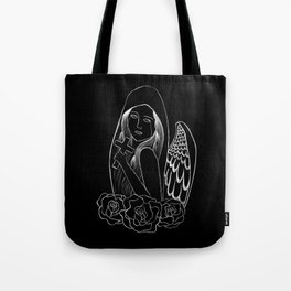 Crying Angel with Cross Tote Bag