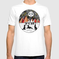 full wolf moon White Mens Fitted Tee MEDIUM