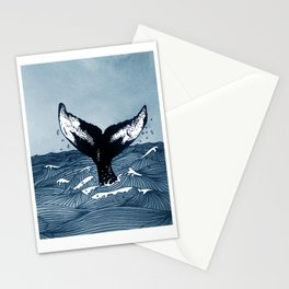 Hump Back Whale tail breaking the surface of stormy waves at sea Stationery Cards