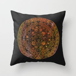 Mayan Calendar Rainbow Sorbet Throw Pillow