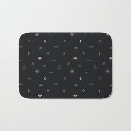 Southwestern Symbolic Pattern in Black & Cream Bath Mat