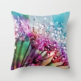 Dewdrops & Rainbows Throw Pillow