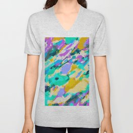 camouflage pattern painting abstract background in green blue purple yellow Unisex V-Neck