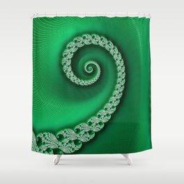 Christmas Green Golden Spiral - Fractal Art Shower Curtain