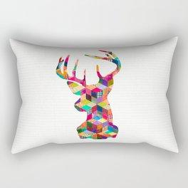 Hipster Vintage Deer Head Bright Patchwork Stripes Rectangular Pillow