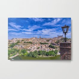 View of the historic city of Toledo with river Tagus, Spain. Metal Print