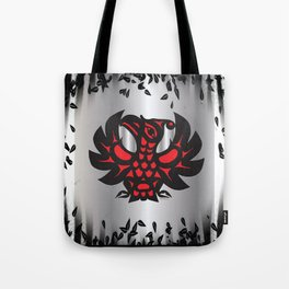 Heiltsuk Thunderbird Black & Red on Silver, with leaves Tote Bag