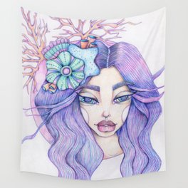 JennyMannoArt Colored Graphite/Keira the Mermaid Wall Tapestry