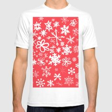 Snowflakes MEDIUM White Mens Fitted Tee