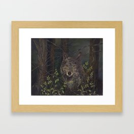 wolf in the woods, karla hall Framed Art Print