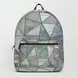 Teal And Grey Triangles Stained Glass Style Backpack
