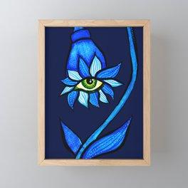 Blue Creepy Eye Flower Framed Mini Art Print
