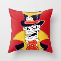 steam punk Throw Pillows featuring Steam Punk Vampire Skull by J&C Creations