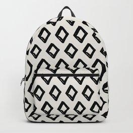 Modern Diamond Pattern 2 Black on Light Gray Backpack