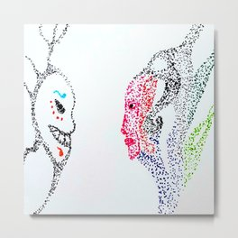 Face to Mask Metal Print