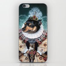 Sophia the Miniature Pinscher as Queen Elizabeth iPhone & iPod Skin