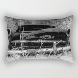 Rusted Out Car Infrared Black and White Abandoned Auto Rectangular Pillow