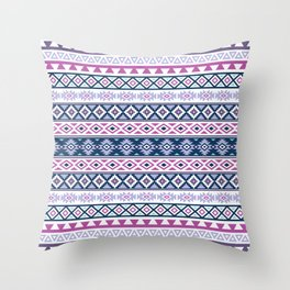 Aztec Stylized Pattern Blues Pinks Purples White Throw Pillow