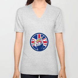 British Electrician Union Jack Flag icon Unisex V-Neck