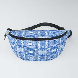 Ocean Ripple Marbling Blue and White Fanny Pack