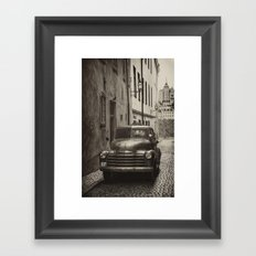 Vintage Chevrolet pickup on a cobbled street Framed Art Print