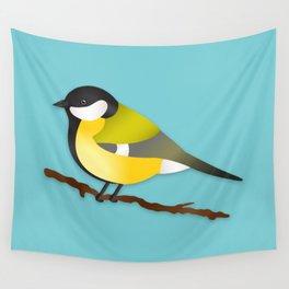 Cute Little Yellow Bird Parus Major Cartoon Illustration On Blue Wall Tapestry