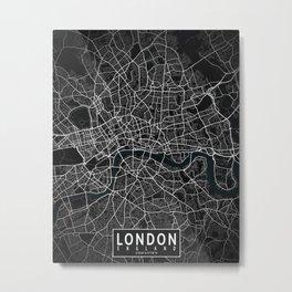 London City Map of England - Dark Metal Print