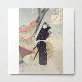 Cherry Blossoms and a person (sakura) Ukiyo-e Metal Print