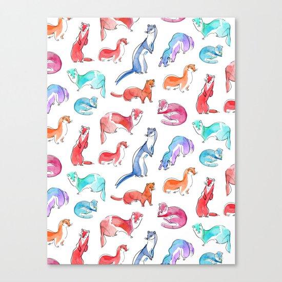 Rainbow weasels Canvas Print