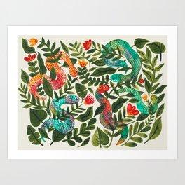 Summer Snakes and Folk Flowers Art Print