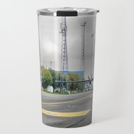 The plane at the airport on road Travel Mug