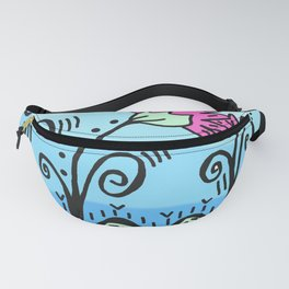 Three Spring Flowers - Blue Fanny Pack