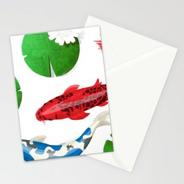 Watercolor koi fish background Stationery Cards