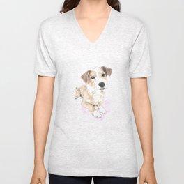 Jack russell terrier love Unisex V-Neck