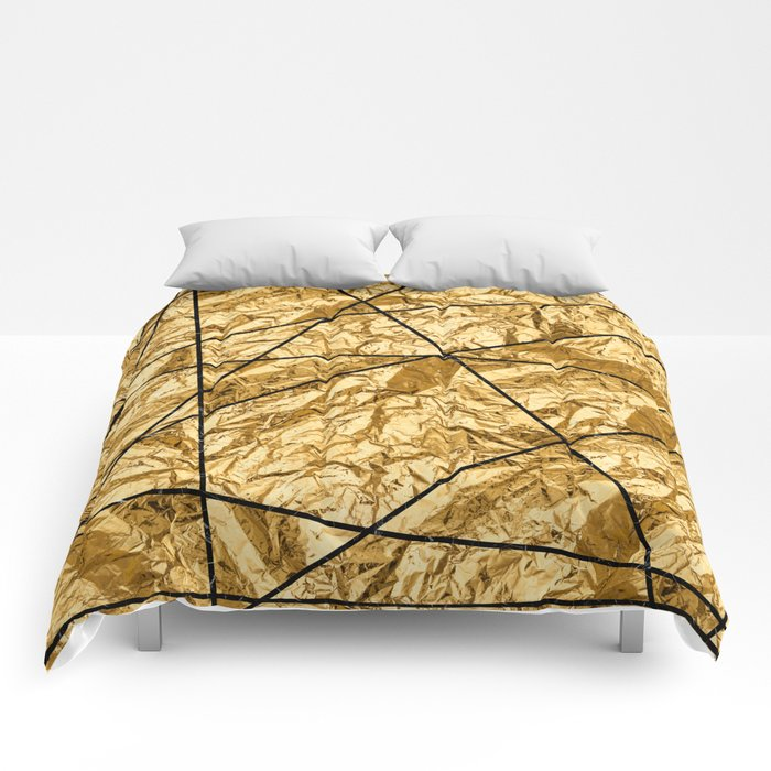 Shiny yellow gold with marble Comforters