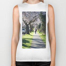 Cherry Blossom Sidewalk Biker Tank