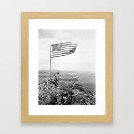 American Flag Flying Over Mount Suribachi - WWII Framed Art Print
