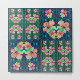 Retro Magic Hawaiian Floral Print Metal Print