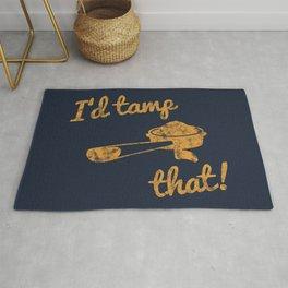 I'd Tamp That! (Espresso Portafilter) // Mustard Yellow Barista Coffee Shop Humor Graphic Design Rug
