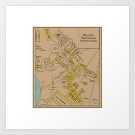 Historic Plan of the Imperial Forum Rome Map Art Print