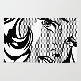 Girl with Hair Ribbon B&W Rug