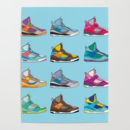 Colorful Sneaker set illustration blue illustration original pop art graphic print Poster