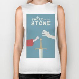 The sword in the stone, minimalist movie poster, animated film, King Arthur, Merlin, retro playbill Biker Tank