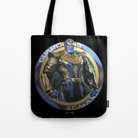 thanos Tote Bags featuring Thanos - Guardians of the Galaxy by Leamartes