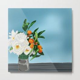 White Roses & Tangerines Metal Print