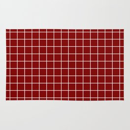 Maroon (HTML/CSS) - red color - White Lines Grid Pattern Rug