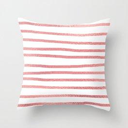 Simply Drawn Stripes Warm Rose Gold on White Throw Pillow